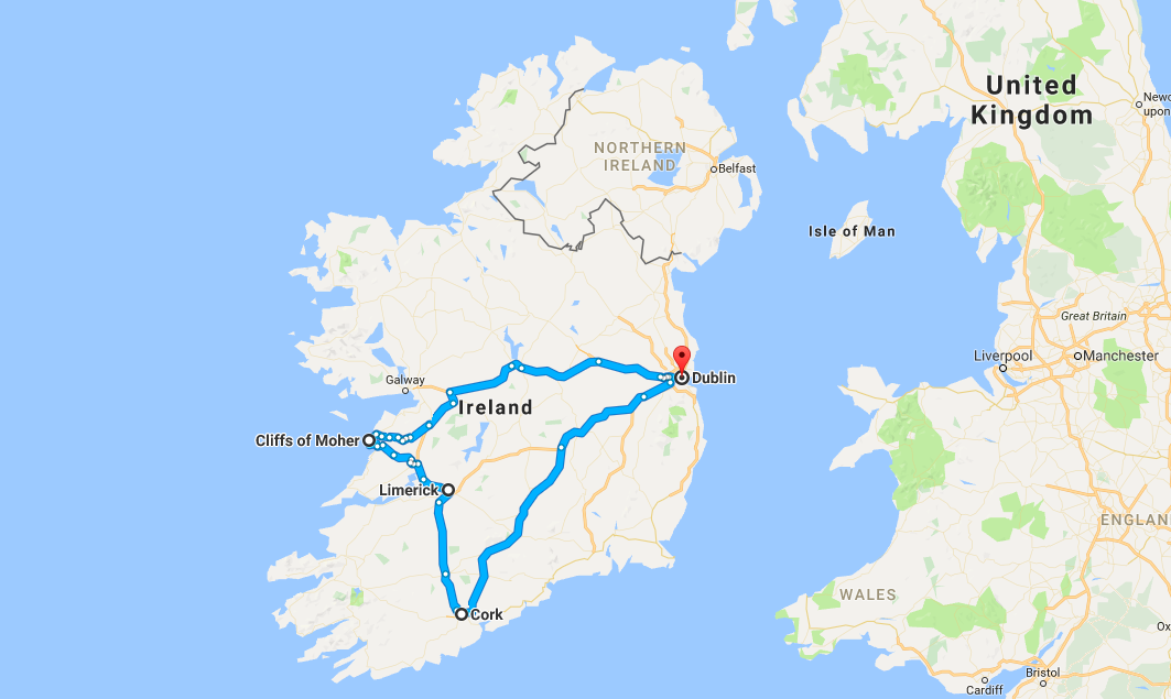 road trip in Ireland route