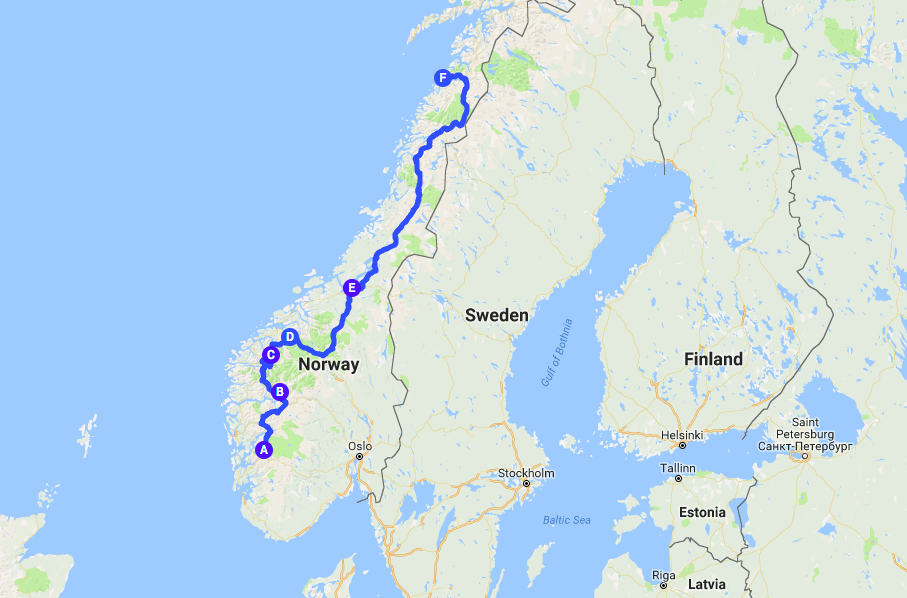 Km Europe Road Trip Part Odda Geiranger To Bodø - Norway map geirangerfjord